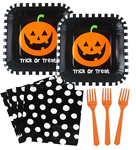 Cute Halloween Party Supplies Bundle - Dessert Plates, Napkins, Forks - Trick or Treat Pumpkin (Serves 18) -