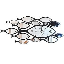 HSRG Wall Clock Fish Iron Artistic Large Hanging Table Silent Fashion Creative Art Living Room Bedroom Quartz Clock