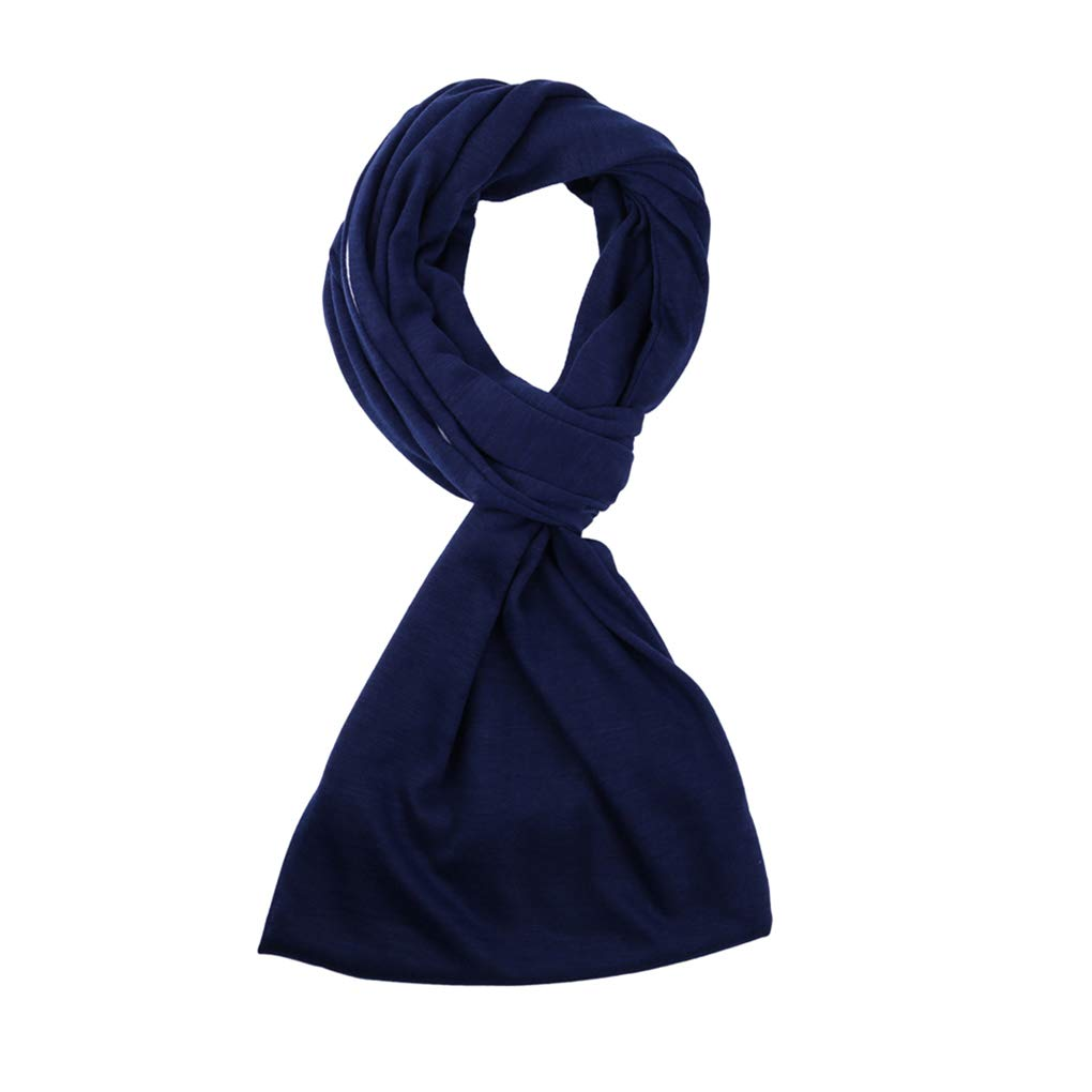 Aulley Spring Autumn Women Multi-functional Soft Scarf Zipper Pocket Solid Color Polyester Scarf