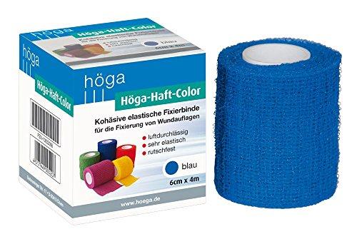 Höga-Haft-Color blau 6 cm x 4 m gedehnt, kohäsive (selbsthaftende) elastische Fixierbinde, 2er Pack (2 x 1 Stück)