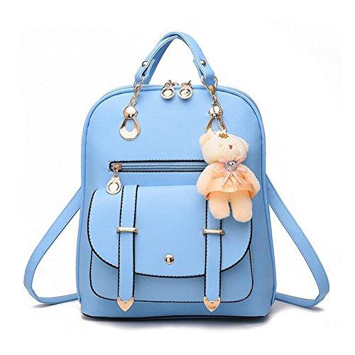 Frauen Rucksäcke Handtaschen Sweet PU Leder Schule College Reise Outdoor Tasche für Mädchen Damen Taschen. (Schwarz) Blau Htvv7