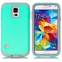 Galaxy S5 Case,LUOLNH 3-Piece High Impact Hybrid Defender Case For Samsung Galaxy S5 i9600 (not fit Galaxy S5 mini 2014)(Mint+Grey)
