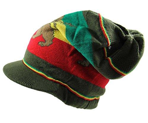 NY Lion Dread Knit Beanie Visor (Olive/Rasta)