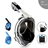 Ganowo Snorkel Mask Full Face for Adults Kids, Snorkeling Diving Mask with Detachable Camera Mount, Dry Top Scuba Set