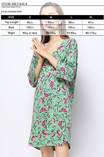 Estate Notte Verde Morbida Lounging Top Da 2018 Pigiama Camicia Donna Floreale Dolamen Lungo Modale Sciolto Manica Pigiami Notte TnS6WRRx