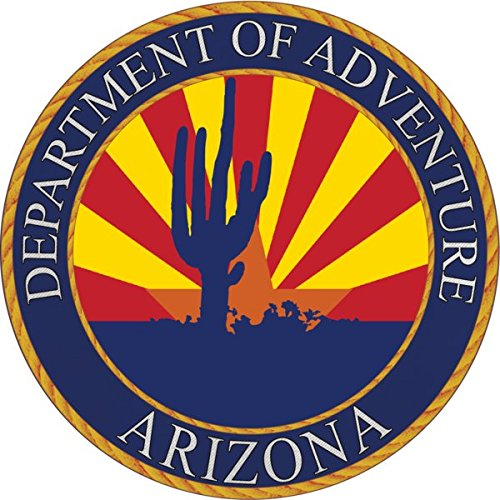 Arizona Sticker - Department of Adventure State Seal. Vinyl, Die-Cut, 3.5 inch, Custom Designed Decal & Gift. Use on Water Bottles, Laptops, Coolers, Car and Truck Bumper. All-Weather Waterproof