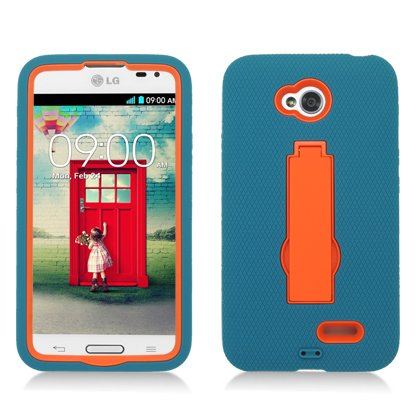 Aimo Wireless For LG Optimus L70 (MetroPcs/Cricket) / Optimus Exceed 2 W7 (Verizon) / LS620 Realm (Boost Mobile) / L41C Ultimate 2 (Straight Talk) Layer Case, 3 in 1 w/Black Stand Turquoise Skin+Orange Cover