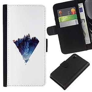 KLONGSHOP // Tirón de la caja Cartera de cuero con ranuras para tarjetas - Diamante Triángulo Lobo - Sony Xperia Z3 D6603 //