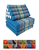 Traditional Thai Kapok 3 Fold Meditation Mattress with Oriental Style Triangle Recliner Cushion for Yoga Massage or Relaxation (Blue)