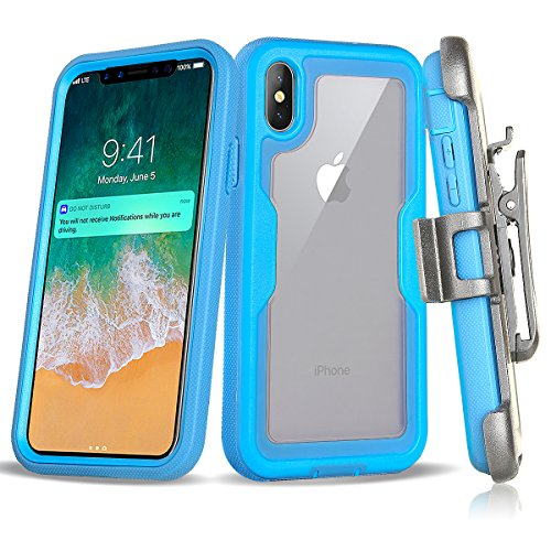Red Vs Blue Wallpaper (Apple iPhone X Case,Customerfirst, Shockproof Rugged Hybrid Armor Case Cover with Belt Clip Holster & Built-in Screen Protector for Apple iPhone X (Blue))