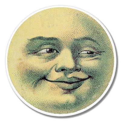 Amazon Moon Face Smile Vintage Illustration Vinyl Sticker
