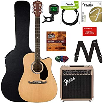 Fender FA-125CE Acoustic-Electric Guitar Bundle with Acoustasonic Amp, Case, Cable, Strap, Strings, Tuner, Picks, Fender Play Online Lessons, ...