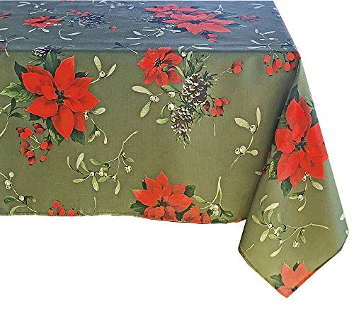 - Newbridge Peaceful Poinsettia Allover Print Christmas Fabric Tablecloth, Holly Berry Xmas Print Cloth Tablecloth, 60 Inch x 120 Inch Oblong/Rectangle, Green