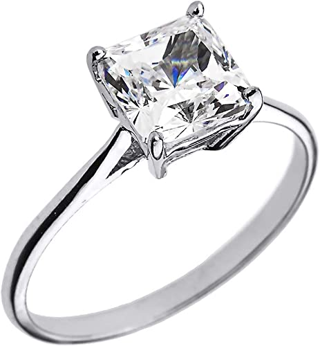 Amazon Com 10k White Gold Cz Princess Cut Solitaire Engagement Ring Claddagh Gold Jewelry