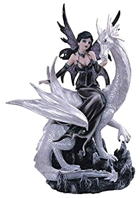 George S. Chen Imports Black Fairy Riding White Dragon Collectible Figurine Decoration Statue