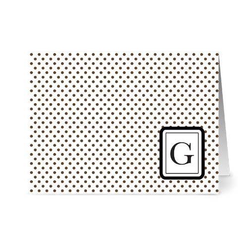 (Modern Dots 'G' Chocolate Monogram - 24 Cards - Blank Cards w/ Grey Envelopes Included )
