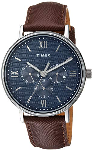 Timex Men's TW2T35100 Southview 41 Multifunction Brown/Silver/Blue Leather Strap Watch (Timex Classic Dress Watch)