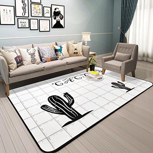LOFAMI Alfombra moderna del patrón del cactus del nórdico, alfombras de área blanda, alfombra grande antideslizante,...