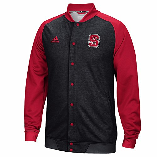 (adidas NC State Wolfpack NCAA Black Modern Varsity Full Button Down Anthem Jacket for Men (S))