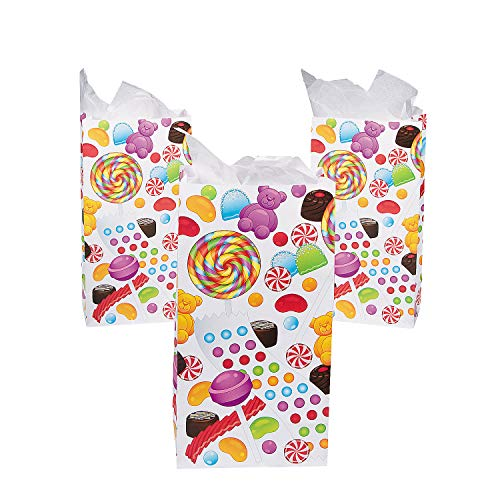 Fun Express Sweet Treats Candy Treat Bags | 12 Count | Great for Birthday Parties, Candy, Party Favors -