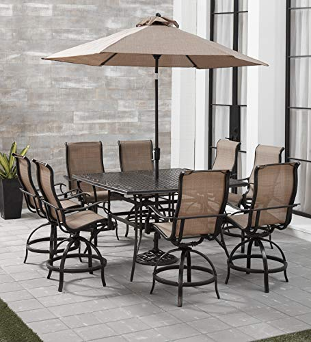 Hanover MANDN9PCSQ-BR-SU Manor 9-Piece Counter-Height Dining Set Outdoor Furniture, Tan Counter Height Nine Piece