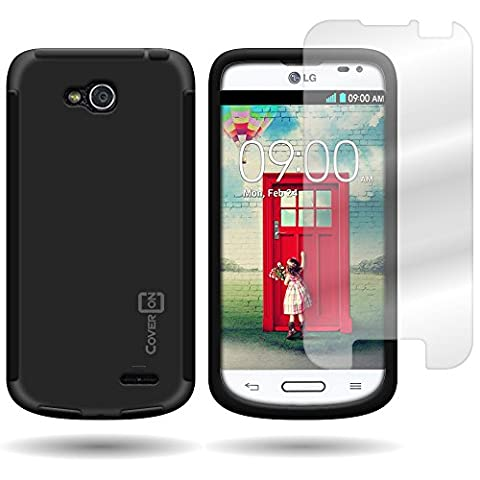 CoverON Hybrid TPU & Hard Plastic Dual Layer Case for LG Optimus L90 - Screen Protector Included Inside Package - Black Hard Plastic + Black (Lg D415 Phone Case For Girls)