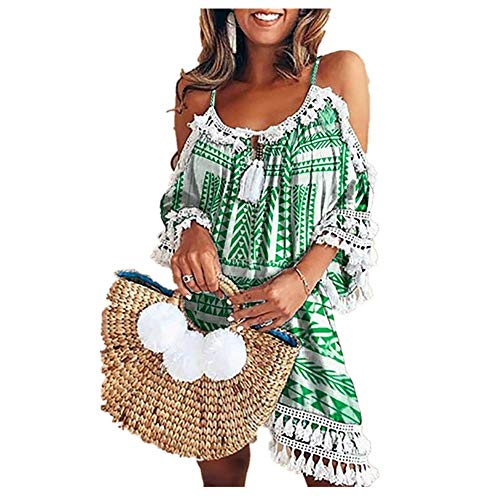 WOCACHI Women's Halter Tassel Off Shoulder Ripple Printed Lace Loose Beach Dresses Sundress 2019 Summer New Deals Under 10 Dollars Beachwear Cover-ups Pom Pom Trim Tassel Lace Crochet Swimsuits
