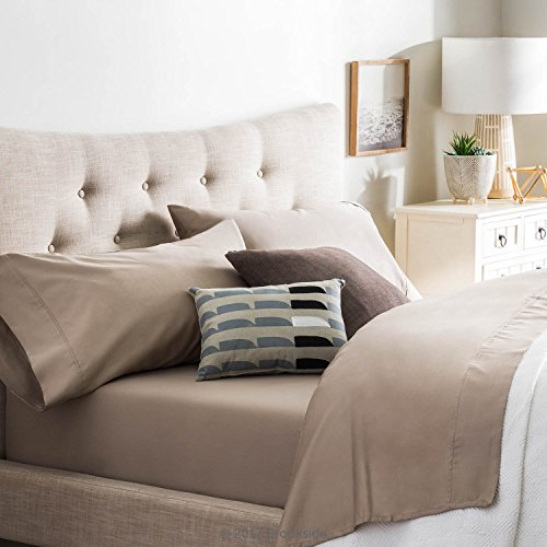 Brookside Blend Sheet Set-Wrinkle Resistant-Rich Cotton Look and Feel-Easy Care Fabric-Deep Pocket Design-Split King-Sandstone