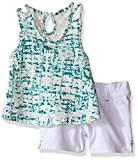 Lucky Brand Little Girls Tie Dye Lace Set, Aqua Sky, 4