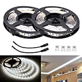 LE 2 Pack 16.4ft LED Light Strip, 300 Units SMD 2835 LED, 12V, Daylight White, Non-waterproof, LED Tape, LED Ribbon, Christmas Holiday Home Kitchen Bar Indoor Party Celebration Decoration