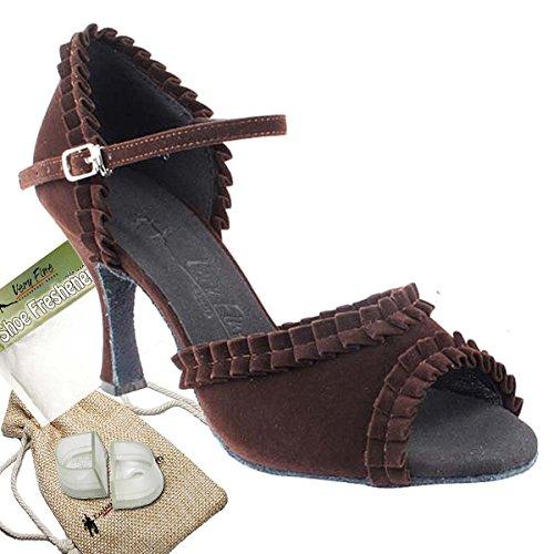Women's Ballroom Dance Shoes Tango Wedding Salsa Dance Shoes Purple Velvet Sera7001EB Comfortable - Very Fine 2.5