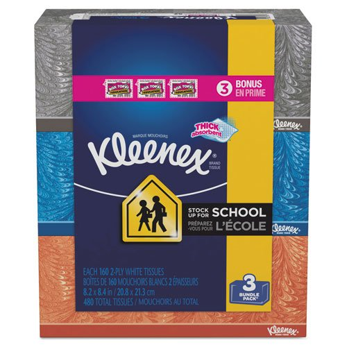 KIMBERLY-CLARK PROFESSIONAL* KLEENEX White Facial Tissue, 2-Ply, 160/Box - Includes 12 packs of three boxes each