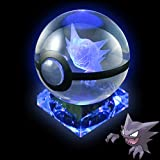 Pokemon Crystal Poke Ball Night Light with Crystal Base and Soft Cleaning Cloth (Haunter)