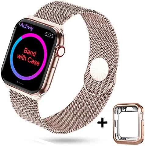 HONEJEEN Compatible with Apple Watch Band 38mm 40mm 42mm 44mm,Stainless Steel Mesh Loop Replacement Parts for iWatch Band Series 5 4 3 2 1