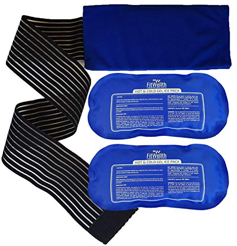 Ice Packs for Injuries Reusable (2 Piece Set) by FitWellth - Hot and Cold Flexible Gel Therapy Pack with Extra Long Extended Wrap Ideal for Icing Knee Shoulder Rotator Cuff Ankle Back Wrist Joint