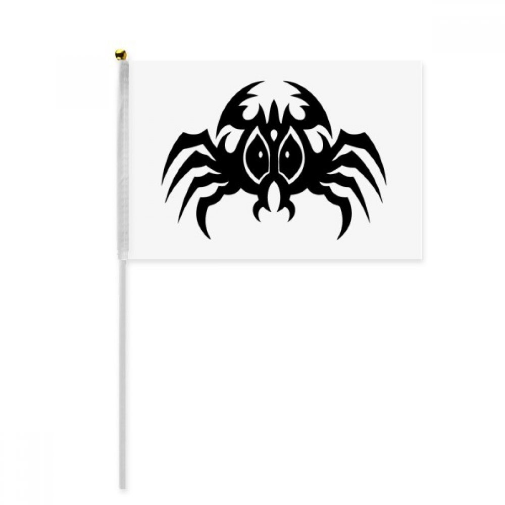 Black Spider Pattern Insect Illustration Hand Waving Flag 8x5 inch Polyester Sport Event Procession Parade 4pcs