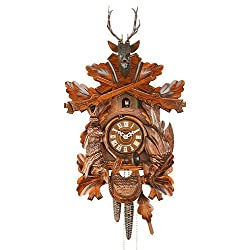 German Cuckoo Clock 1-Day-Movement Carved-Style 18.00 inch - Authentic Black Forest Cuckoo Clock Hekas