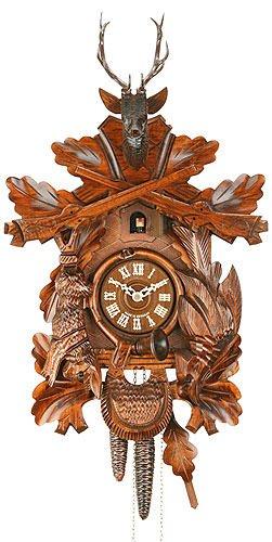 Alemán Reloj de cuco - mecanismo con cuerda para 1 día - tallado en madera - 46 cm - Auténtico reloj de cuco del bosque negro - de Hekas: Amazon.es: Hogar