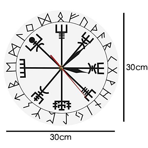 Pmrioe Brújula Rúnica Reloj De Pared Vegvisir Runa Círculo Vikingo Mitología Nórdica Reloj Moderno Y Moderno Reloj Casco De Awe-A: Amazon.es: Hogar