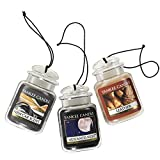 Yankee Candle Car Jar Ultimate Hanging Air Freshener 3-Pack (Leather, Midsummer's Night, and New Car Scent)