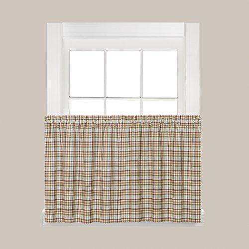 SKL Home Dexter Tier Curtain Pair, Green, 57 inches x 24 inc
