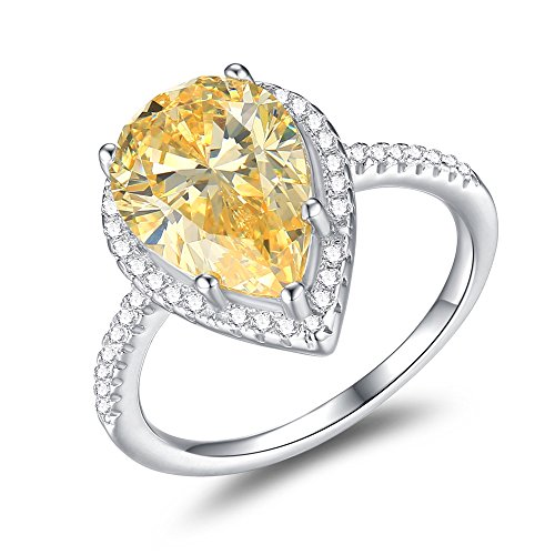 Mozume Women's Pear-Cut 5ct Yellow Cubic Zirconia Cocktail Ring 925 Sterling Silver Engagement Wedding (7)