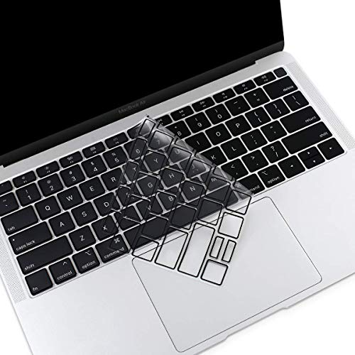 MOSISO Premium Ultra Thin TPU Keyboard Cover Compatible with MacBook Air 13 inch 2019 2018 Release A1932 with Retina Display & Touch ID, Soft Protective Transparent Skin Protector, Black