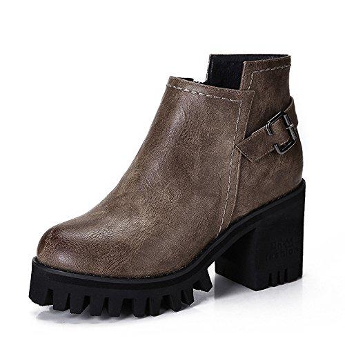 con de mujer altos NSXZ botas retro redondas británico de cremallera botas Martin botas con gruesas agua de botas F7nnvwq8