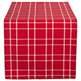 "DII 100% Cotton, Machine Washable, Dinner and Holiday Table Runner 14x108"", Berry Plaid"