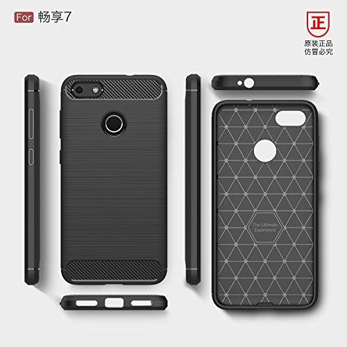 Funda Huawei Enjoy7 Plus,Alta Calidad Ultra Slim Anti-Rasguño y Resistente Huellas Dactilares Totalmente Protectora Caso de Cover Material de fibra de carbono TPU Adecuado para el Huawei Enjoy7 Plus C