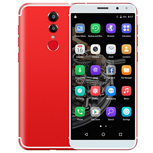 Padcod M98 LTE Unlocked 4G Smartphone 5.72 Inch Display, Android 6.0 Quad-Core 1.3GHz Processor,1GB RAM+16GB ROM,13MP/5MP Camera,Bluetooth/Wi-Fi 3000mAh Battery Smart phone (Red) by Padcod