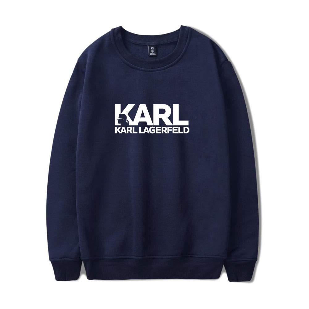 INSTO Maglione Karl Lagerfeld Stampato Felpa Casuale Sciolto Felpa con Cappuccio Unisex Indossando Confortevole//Grigio//M