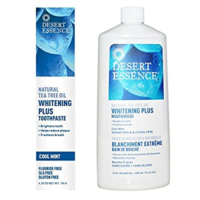 Desert Essence Whitening Plus Toothpaste and Desert Essence Whitening Plus Mouthwash Bundle With Natural Tea Tree Oil, Cool Mint Flavor, 6.25 oz and 16 fl oz