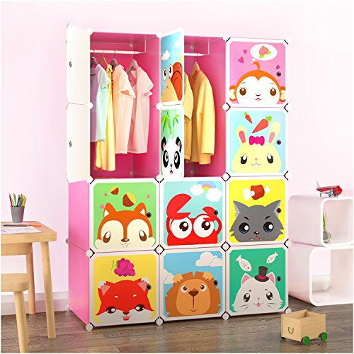 Tespo Portable Clothes Closet Wardrobe for Children and Kids, Cute Cartoon, DIY Modular Storage Organizer, Sturdy and Safe Construction, 12 Deeper Cubes with Hanging Rods, Pink by Tespo (Image #7)